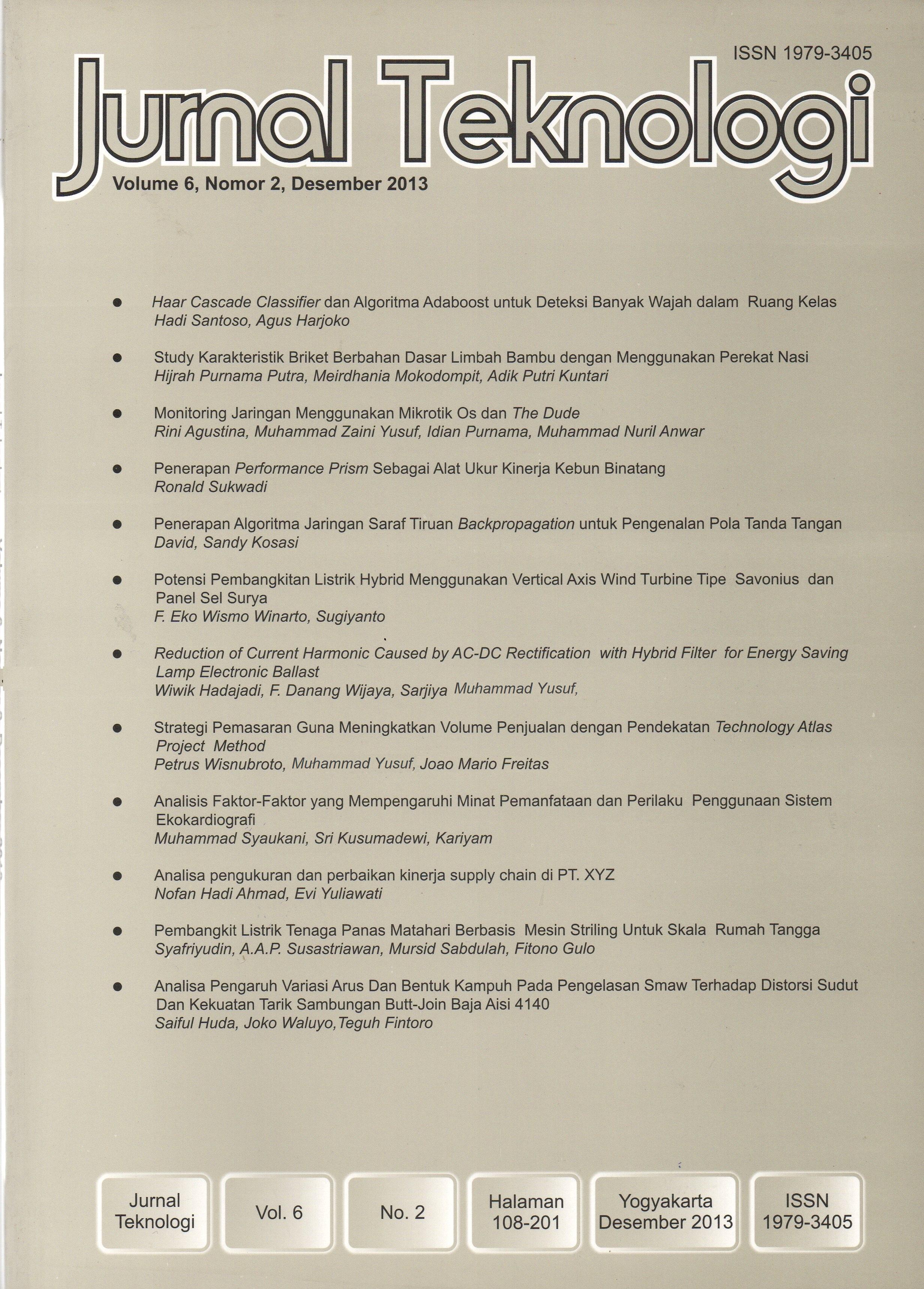 View Vol. 6 No. 2 (2013): Jurnal Teknologi
