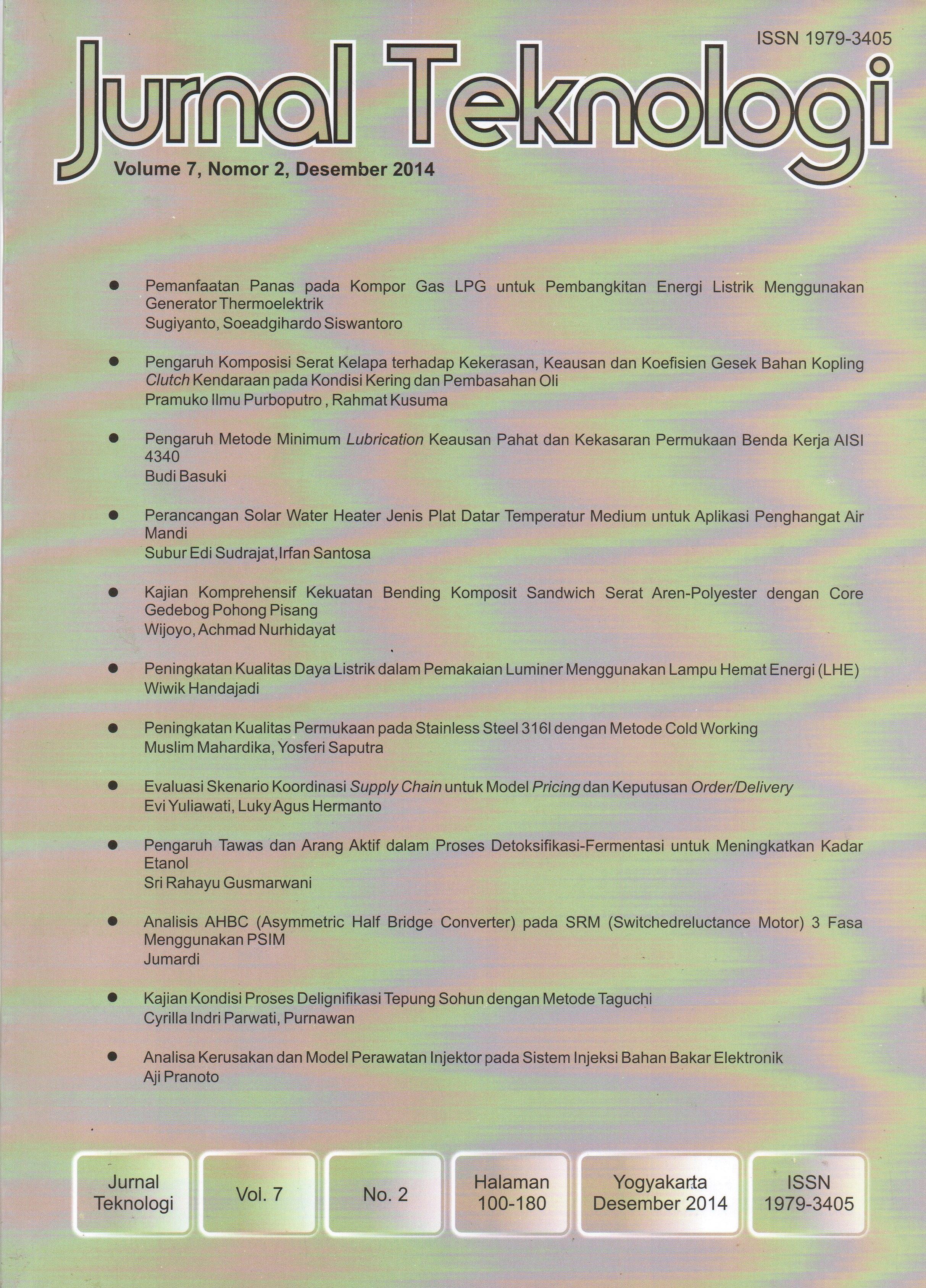 View Vol. 7 No. 2 (2014): Jurnal Teknologi