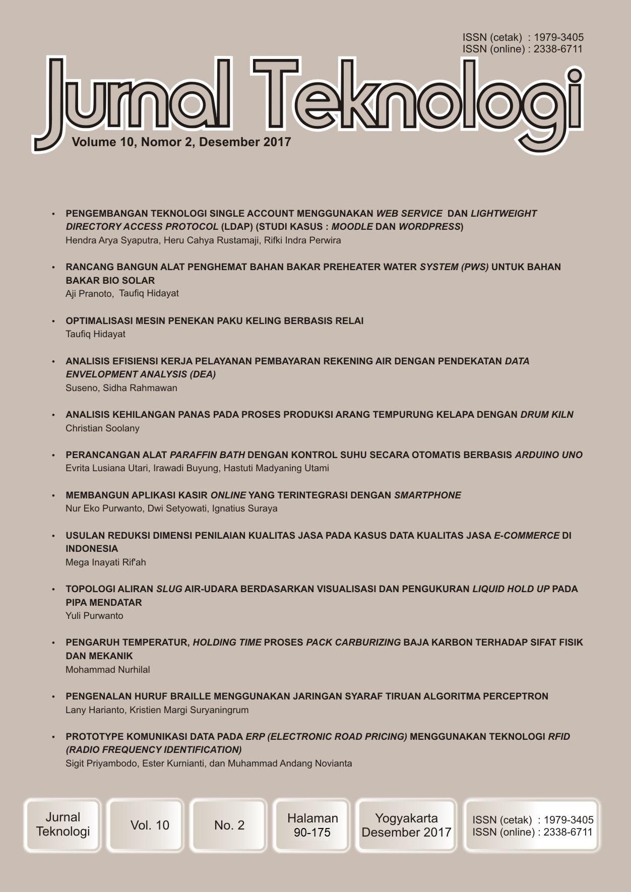 View Vol. 10 No. 2 (2017): Jurnal Teknologi
